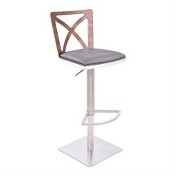 Armen Living Pisa Adjustable Faux Leather Bar Stool in Gray