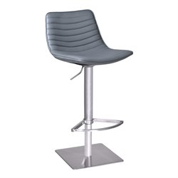 Armen Living Luna Adjustable Faux Leather Bar Stool in Gray