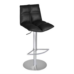 Armen Living Roma Adjustable Faux Leather Bar Stool in Black