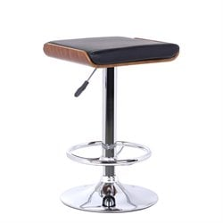 Armen Living Java Adjustable Faux Leather Bar Stool in Black