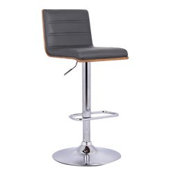 Armen Living Aubrey Adjustable Faux Leather Bar Stool in Gray