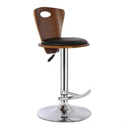 Armen Living Seattle Adjustable Faux Leather Bar Stool in Black