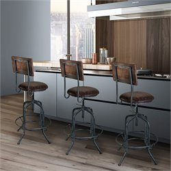 Armen Living Damian Adjustable Bar Stool in Brown