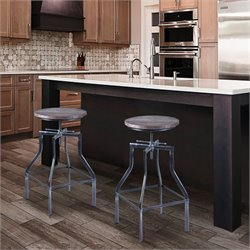 Armen Living Concord Adjustable Bar Stool in Industrial Grey