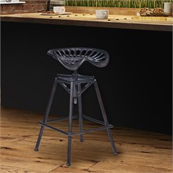 Armen Living Osbourne Adjustable Bar Stool in Industrial Copper Metal