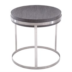 Armen Living Sunset Round End Table in Gray