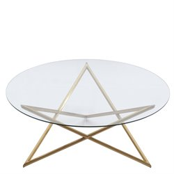 Armen Living Crest Round Glass Top Coffee Table in Brushed Gold