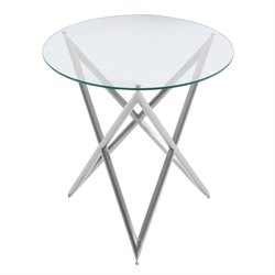 Armen Living Crest Round Glass Top End Table in Brushed Steel