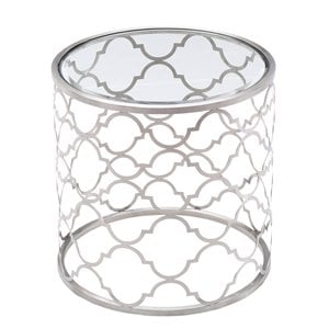 Armen Living Florence Round Glass Top End Table in Brushed Silver