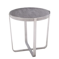 Armen Living Nova Round End Table in Gray