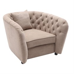 Armen Living Rhianna Transitional Tufted Chair in Camel
