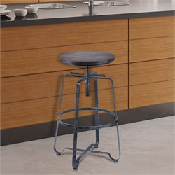 Armen Living Bronx Adjustable Bar Stool in Industrial Grey Steel