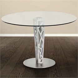 Armen Living Crystal Round Dining Table in Brushed Stainless Steel