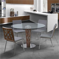 Armen Living Crystal 5 Piece Round Dining Set