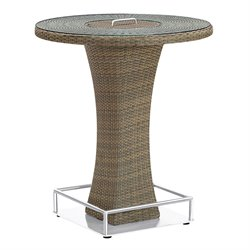 Armen Living Olina Patio Glass Top Rattan Pub Table in Brown