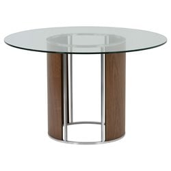 Armen Living Delano Round Glass Top Dining Table