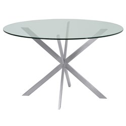 Armen Living Mystere Round Glass Top Dining Table