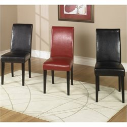 Armen Living Leather Casual Dining Side Chair (Set of 2) - Brown