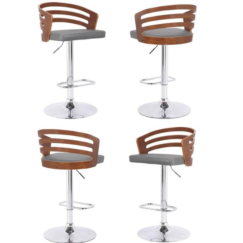 Awe Inspiring Details About Adele Swivel Barstool In Chrome With Grey Faux Leather Set Of 4 Caraccident5 Cool Chair Designs And Ideas Caraccident5Info