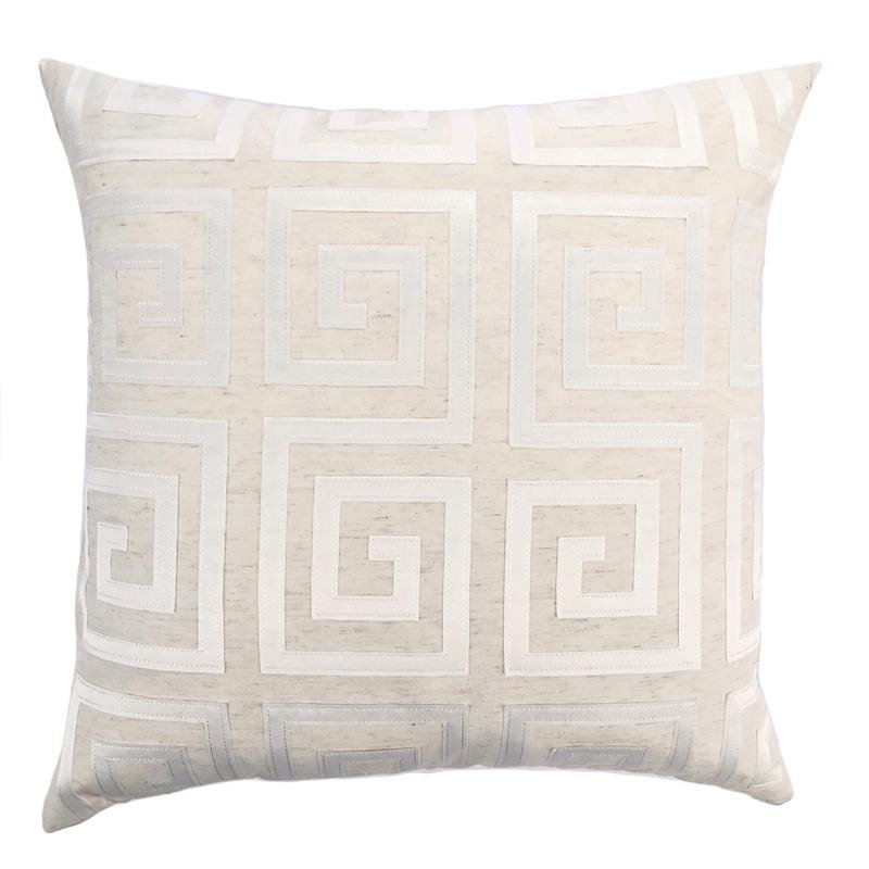 Laguna Feather and Down Throw Pillow In White Embroidery Fabric