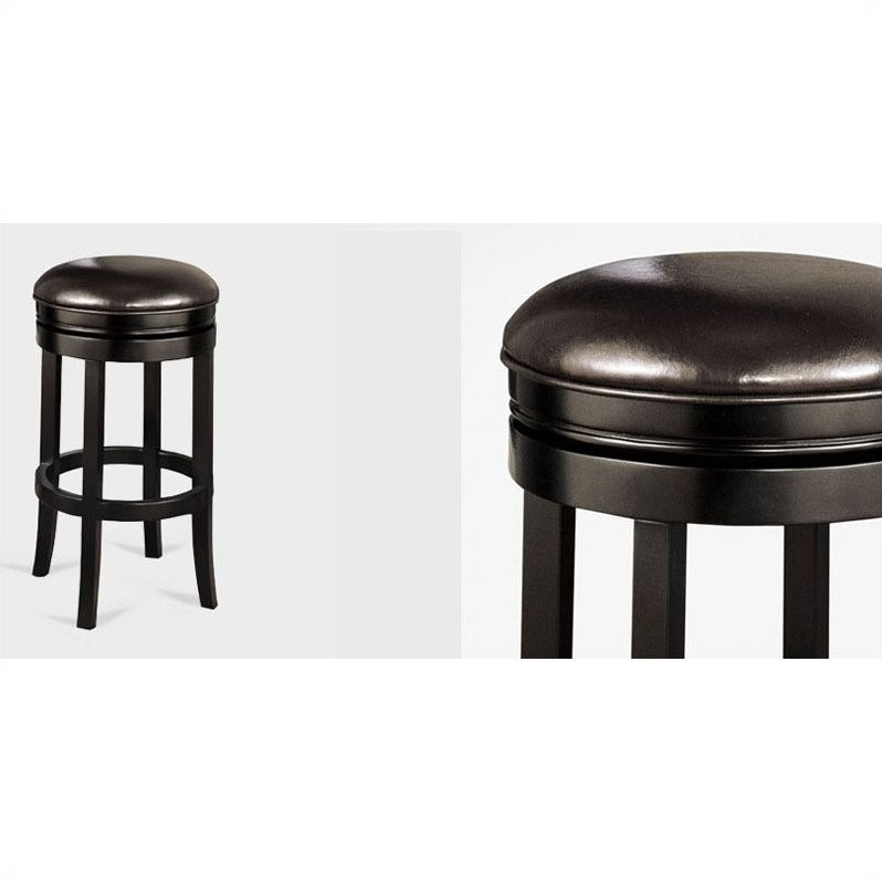 Armen Living 30 Quot Round Backless Swivel Bar Stool In Black