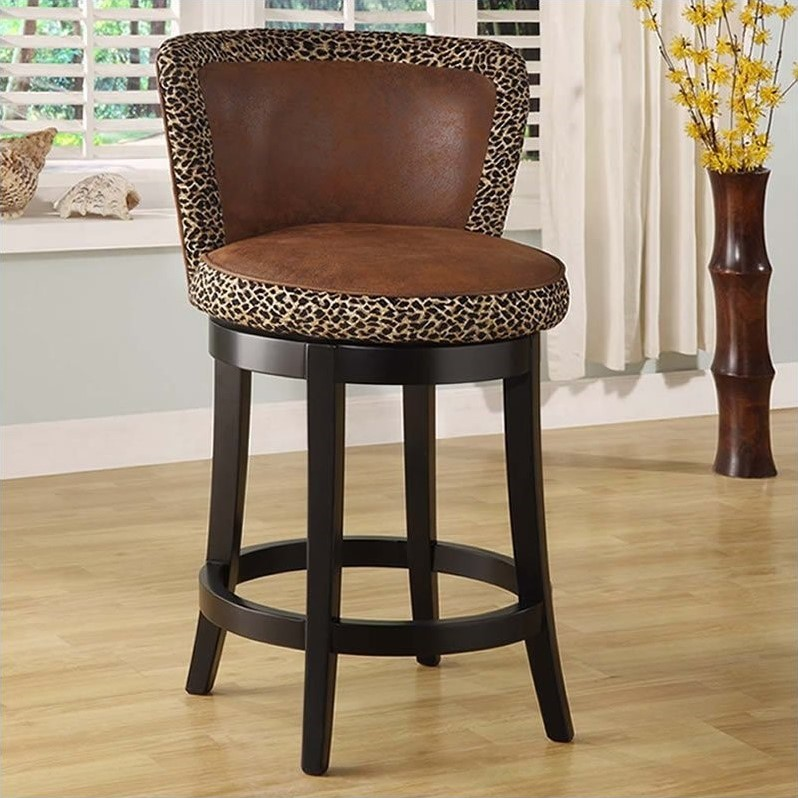 Armen Living Lisbon 30 Quot Leopard Print Bar Stool In