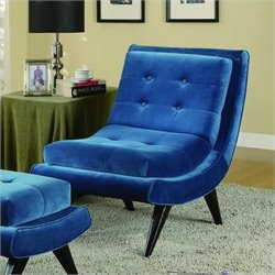 Armen Living 5th Avenue Fabric Swayback Tufted Lounge Chair in Blue