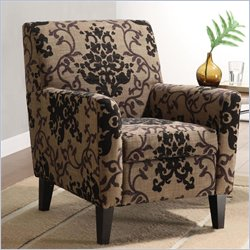 Armen Living Fiesta Fabric Club Chair in Brown Floral Pattern
