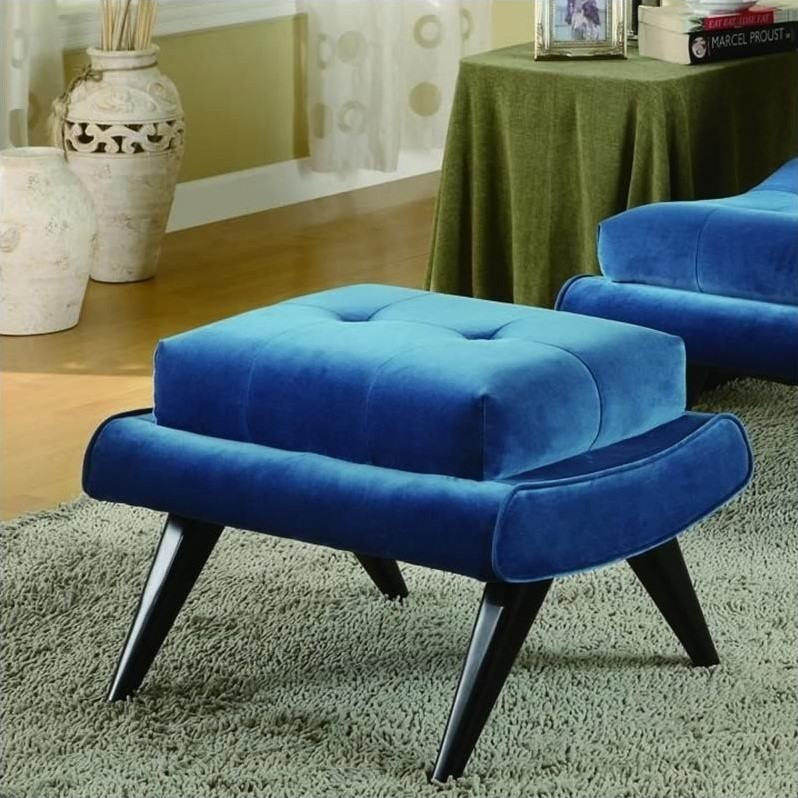 Armen Living 5th Avenue Ottoman in Cerulean Blue