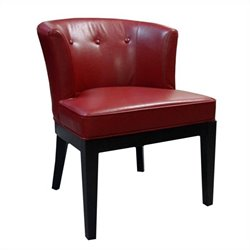 Armen Living Ovation Tufted Leather Accent Barrel Chair in Red