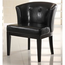 Armen Living Ovation Tufted Leather Lounge Chair in Black