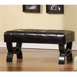 Armen Living Central Park Tufted 36 Inch Leather Ottoman in Black