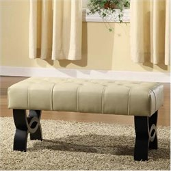 Armen Living Central Park Tufted 24 Inch Leather Ottoman in Cream