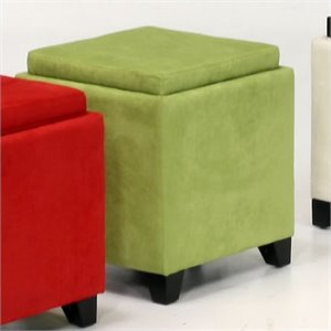 Armen Living Rainbow Micro Fiber Storage Ottoman in Green