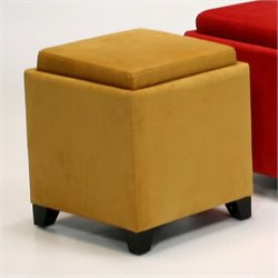 Armen Living Rainbow Micro Fiber Storage Ottoman in Yellow