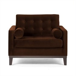 Armen Living Centennial Tufted Velvet Chair in Brown