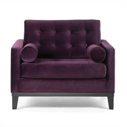 Armen Living Centennial Tufted Velvet Club Arm Chair in Purple