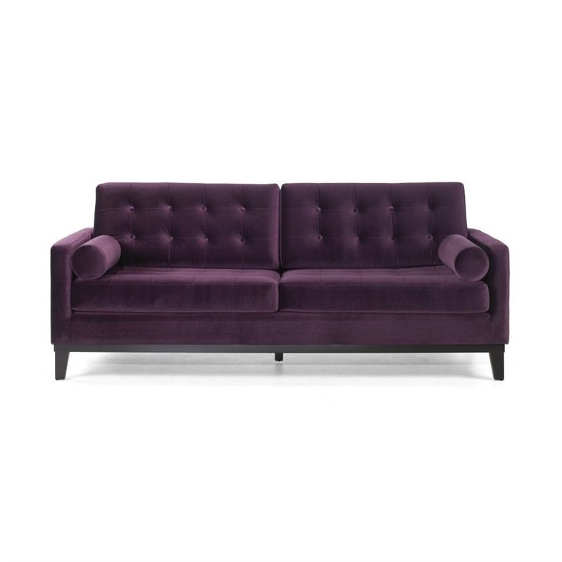 Armen Living Centennial Velvet Loveseat in Purple