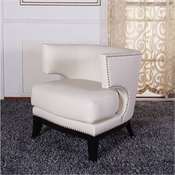 Armen Living Eclipse Linen Club Chair in Cream