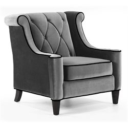 Armen Living Barrister Velvet Tufted Chair in Gray