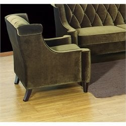 Armen Living Barrister Velvet Tufted Club Chair in Green