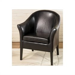 Armen Living Black Leather Club Chair