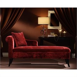 Armen Living Patterson Chenille Chaise Lounge in Maroon