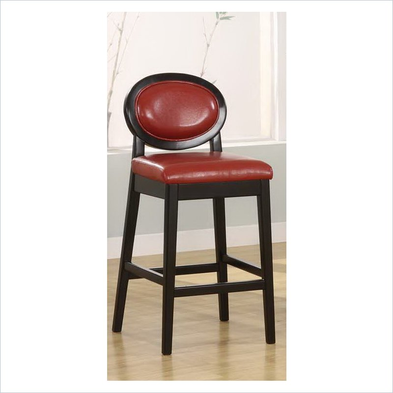 Martini 30 Quot Stationary Bar Stool In Red Leather