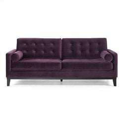 Armen Living Centennial Velvet Sofa in Purple