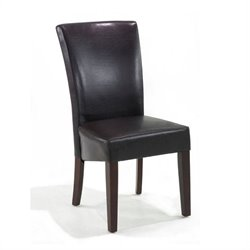 Armen Living Montecito Bycast Leather  Dining Chair in Black (Set of 2)