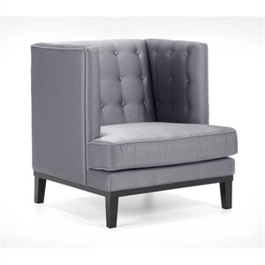 Armen Living Noho Tuffed Fabric Club Chair in Gray