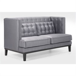 Armen Living Noho Fabric Loveseat in Silver Satin