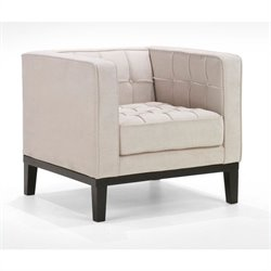 Armen Living Roxbury Tufted Club Arm Chair in White