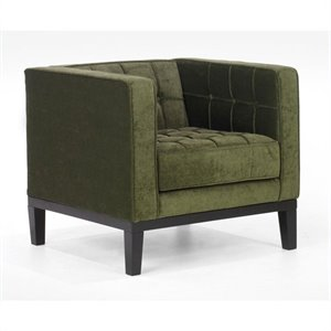Armen Living Roxbury Tufted Fabric Club Arm Chair in Green